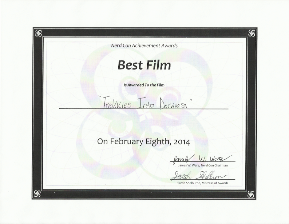 Nerd Con Achievement Awards February 8th, 2014 - Best Film Cert
